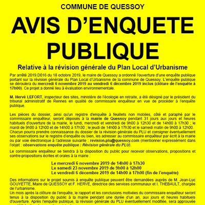 Révision du Plan Local d''Urbanisme : enquête Publique