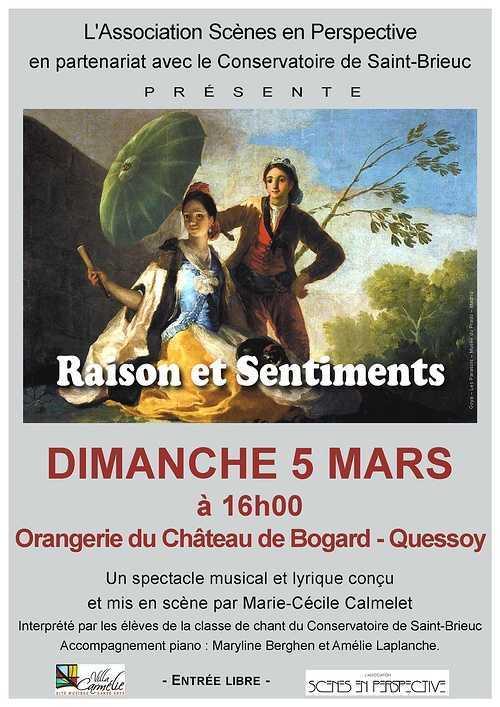 """Spectacle Lyrique et musical """"Raison et sentiments"""", dimanche 5 mars, château de Bogard 0"""