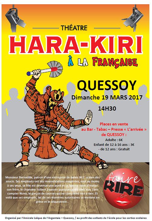 Théâtre comédie ''''Hara Kiri à la française'''' Dimanche 19 mars 2017, 14H30 0