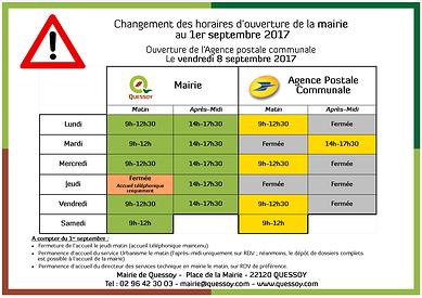 Changement des horaires d'ouverture de la mairie au 1er septembre et ouverture de l''agence postale communale le 8 septembre afficheinfosmairiea3horaires